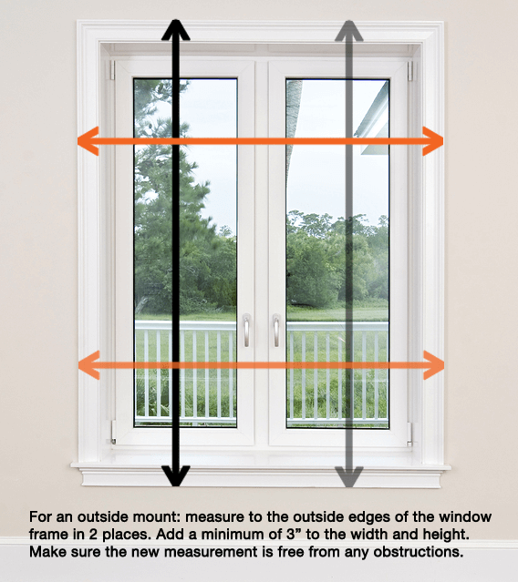 Where to measure for an outside mount.